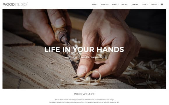 Web template with parallax